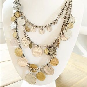 CHICOs Gold Silver Multi  Coin Chain Necklace